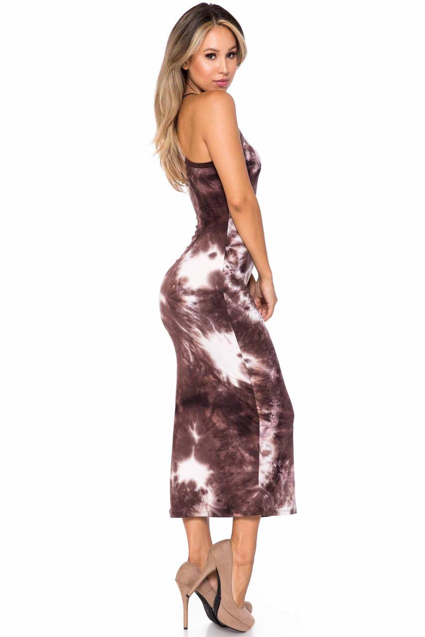 Right side of Brown Buttery Soft X Back Side Slit Tie Dye Summer Dress