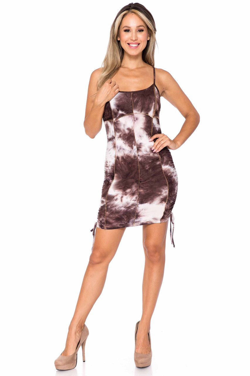 Front of Brown Buttery Soft Contrast Over Stitch Tie Dye Summer Mini Dress