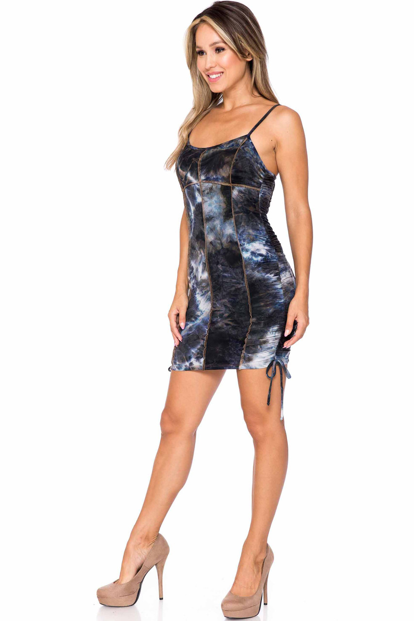 Left side of Charcoal Buttery Soft Contrast Over Stitch Tie Dye Summer Mini Dress