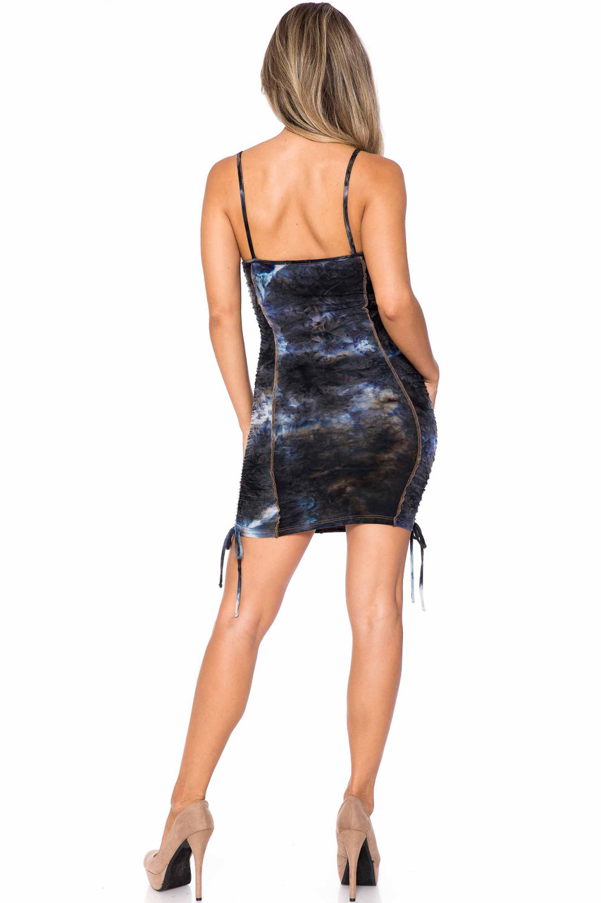 Back side of Charcoal Buttery Soft Contrast Over Stitch Tie Dye Summer Mini Dress