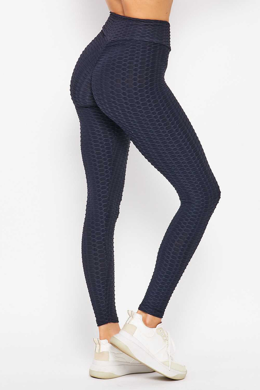45 degree back right side image of Navy Scrunch Butt Textured V-Waist High Waisted Plus Size Leggings with Pockets