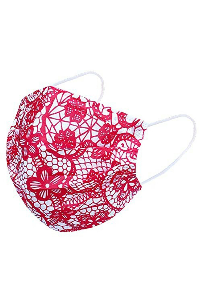 Pink on White Colorful Lace Disposable Surgical Face Mask - 50 Pack - 5 Colors