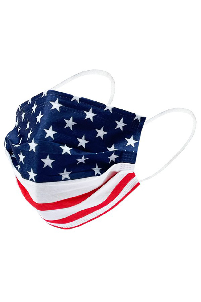 Stand alone image of on face mask from USA Flag Disposable Surgical Face Mask - 50 Pack