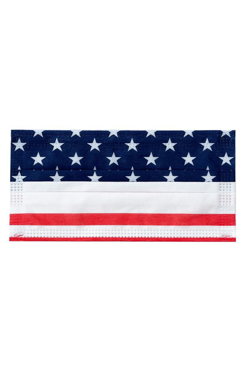 Flat view image of USA Flag Disposable Surgical Face Mask - 50 Pack featuring a red, white, and blue stars and stripes design.