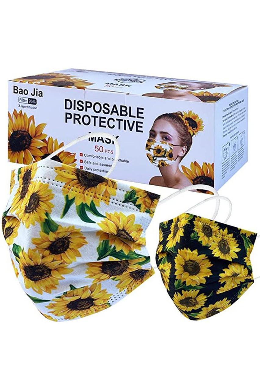 Image of box for Sunflower Disposable Surgical Face Mask - 50 Pack shown with the two styles of masks that are included.