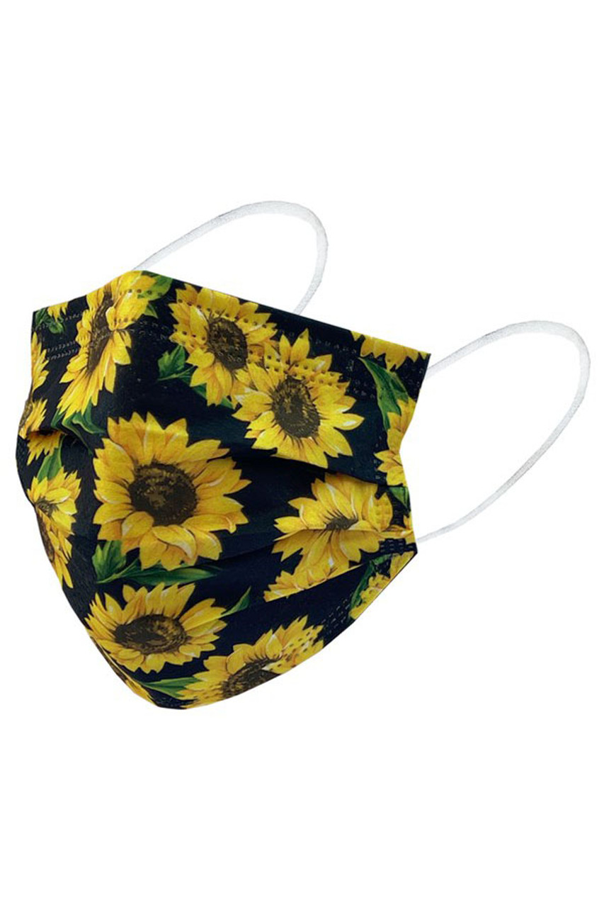 Black Sunflower Disposable Surgical Face Mask - 50 Pack - 2 Styles