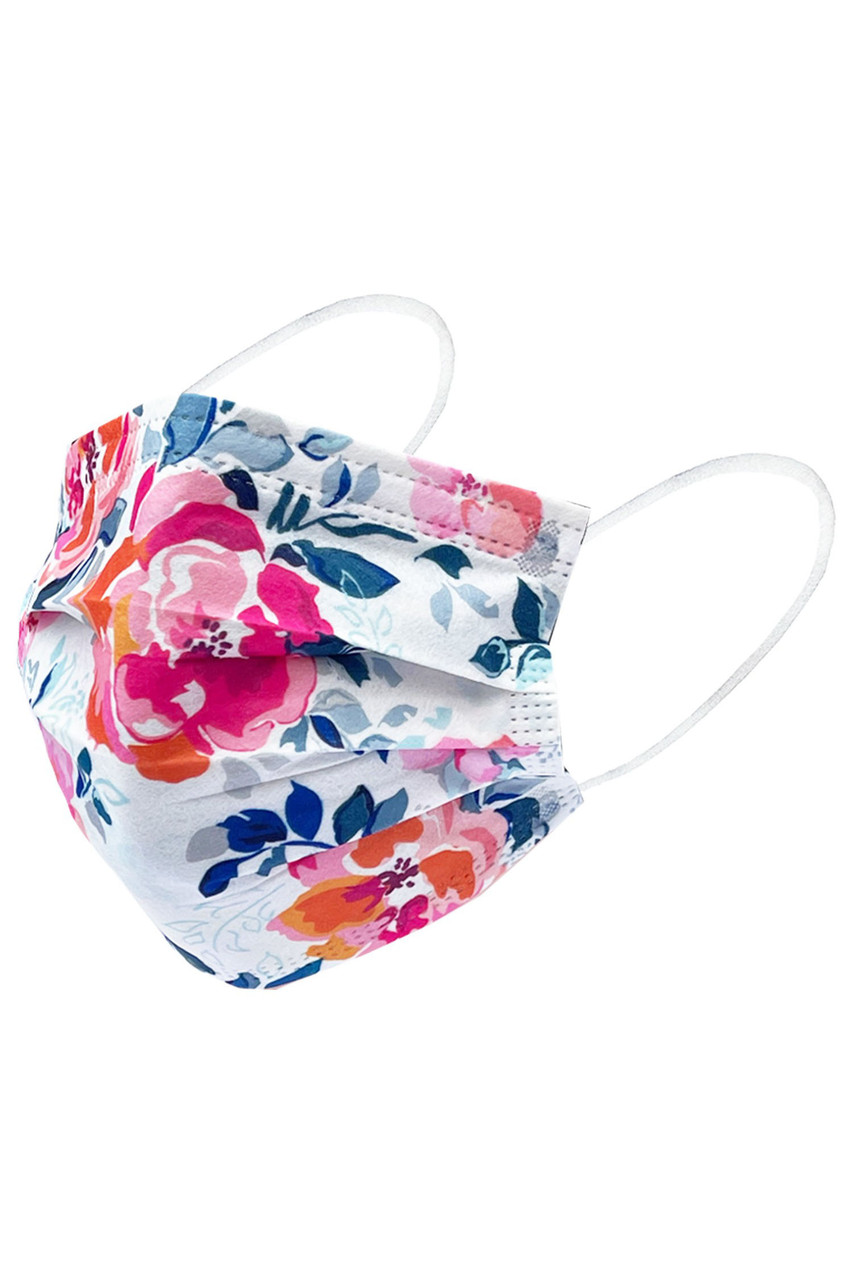 Stand alone image of Floral Rose Bloom Disposable Surgical Face Mask - 50 Pack - 2 Styles with a blue and pink rose design.