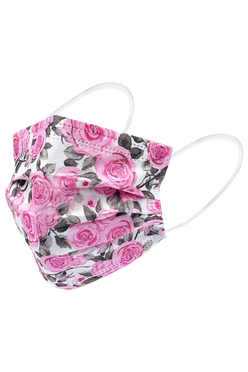Image of Floral Rose Bloom Disposable Surgical Face Mask - 50 Pack - 2 Styles with a gray and pink rose design.