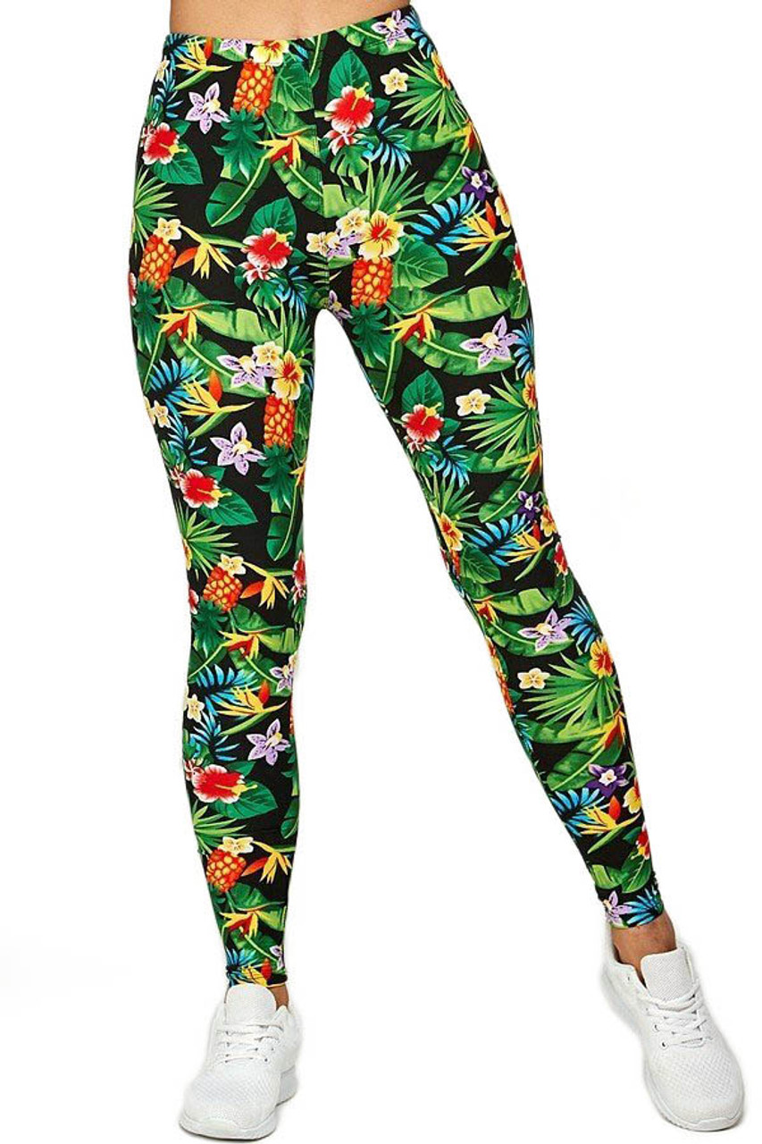 Front view image of Buttery Soft Tropicana Floral Leggings shown teamed with white sneakers.