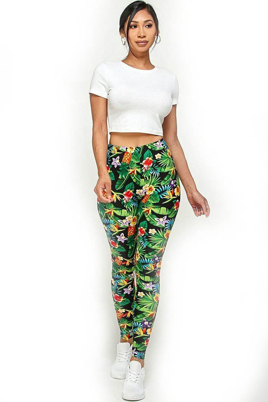 Front full modeled image of Buttery Soft Tropicana Floral Leggings