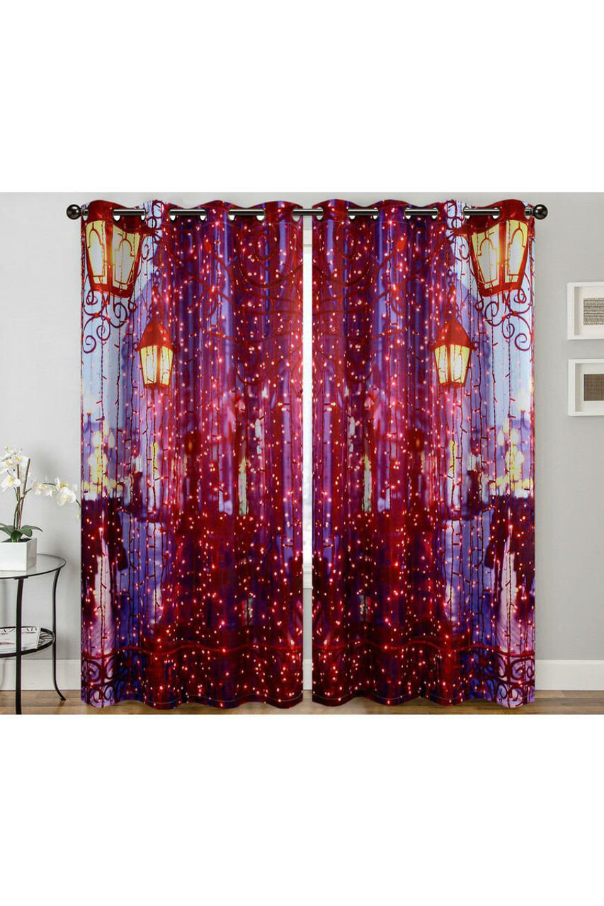 """Image of City Night Lights Digital Print 2 Panel Curtain Set - 27"""" x 84"""" with a gorgeous design on street lamps and twinkle lights in a city setting."""
