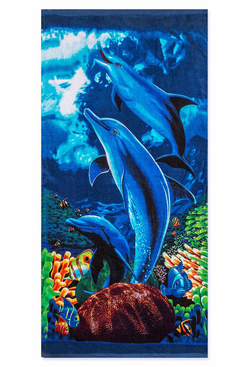 Flat view of Under the Sea Dolphins Cotton Beach Towel with a stunning sea life themed laser print.