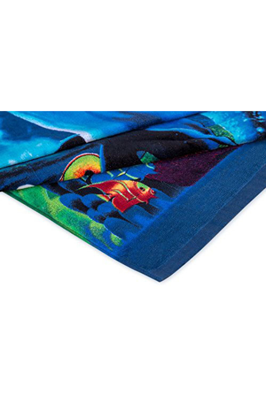 Corner view of Under the Sea Dolphins Cotton Beach Towel