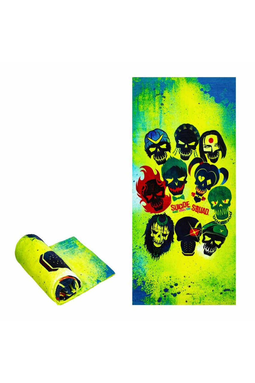 Flat and rolled up view of Suicide Squad Cotton Beach Towel with a cool print of the suicide squad on an neon yellow, green. and blue background.