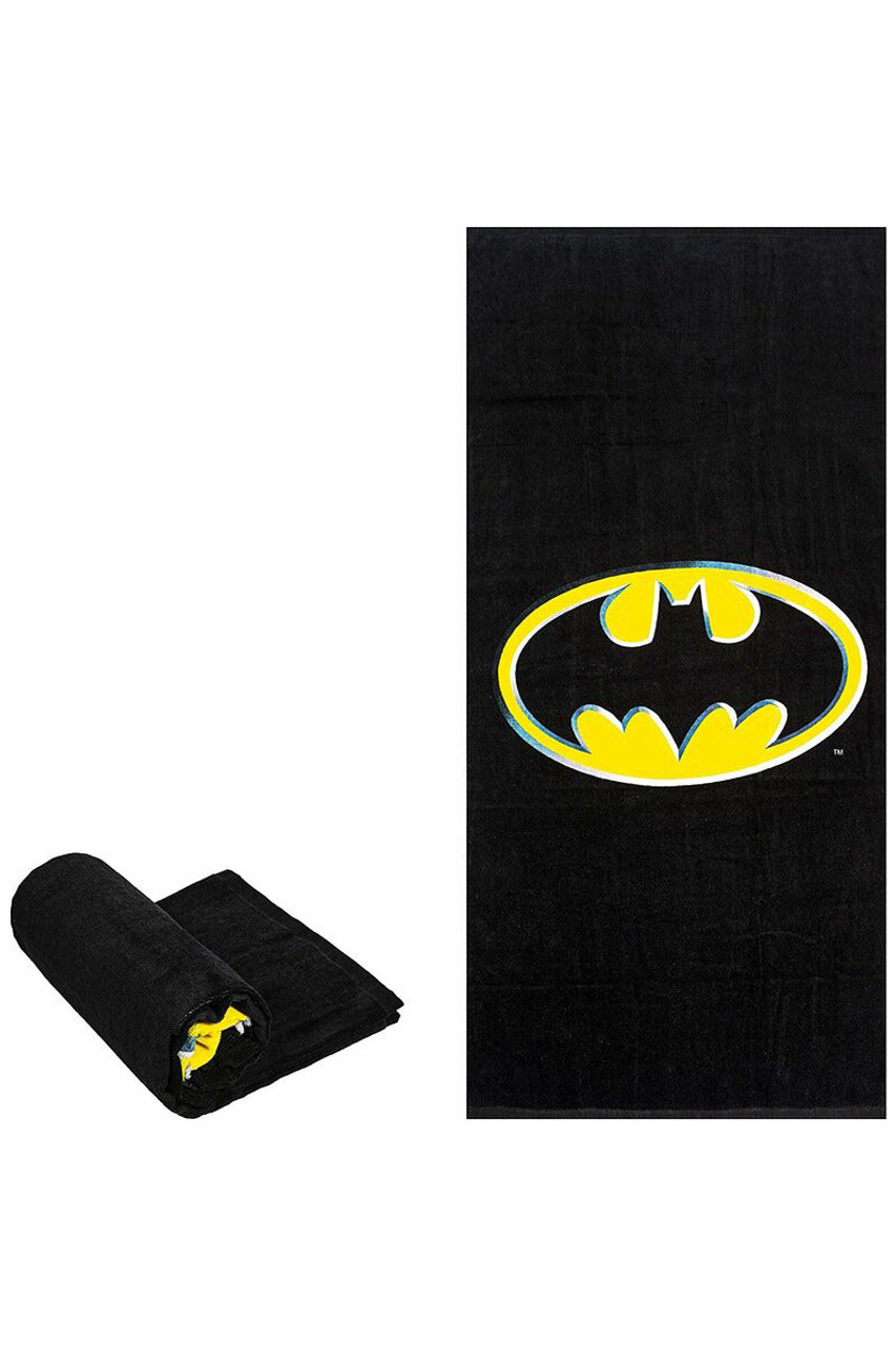Flat and folded view of Batman Logo Oversized Cotton Beach Towel  featuring the classic batman logo in a black and yellow color scheme.