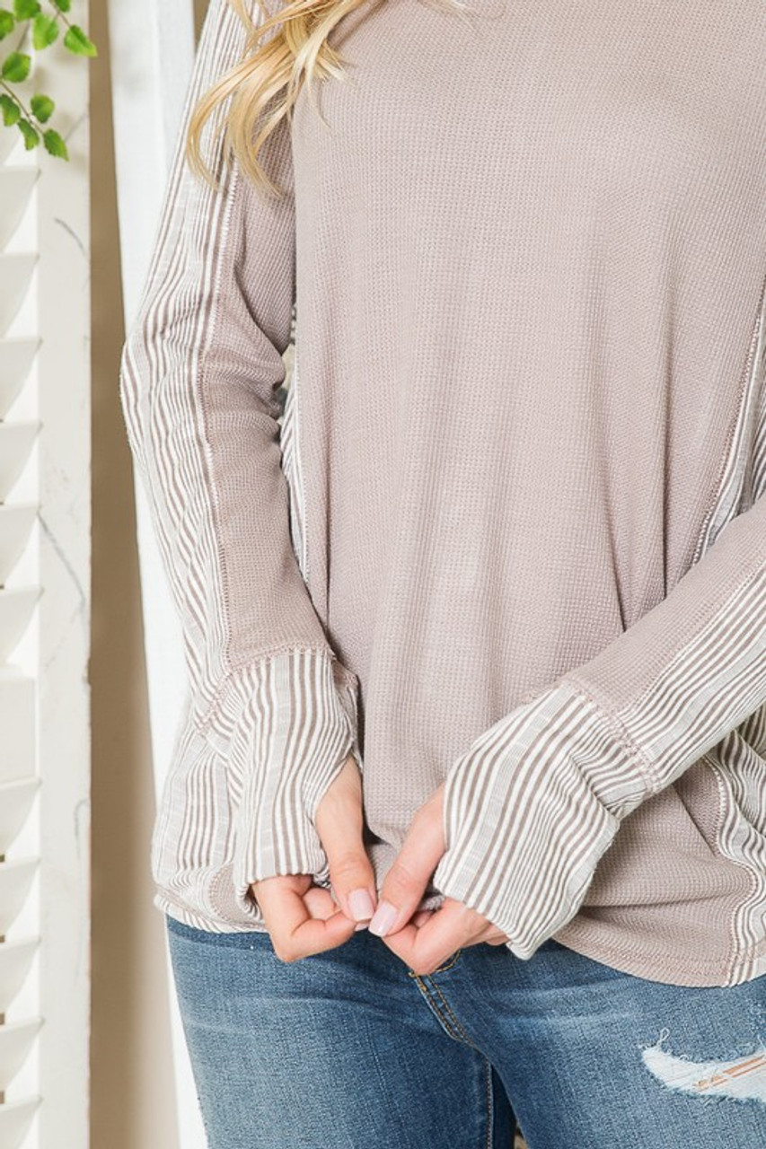 Taupe Rib Contrast Thermal Long Sleeve Top with Thumbholes