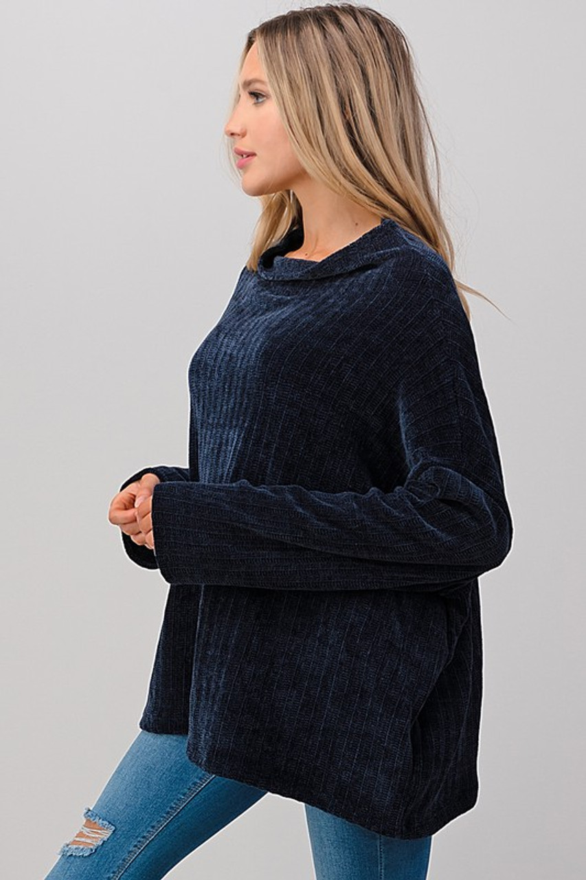 Oversized Chenille Cowl Neck Sweater