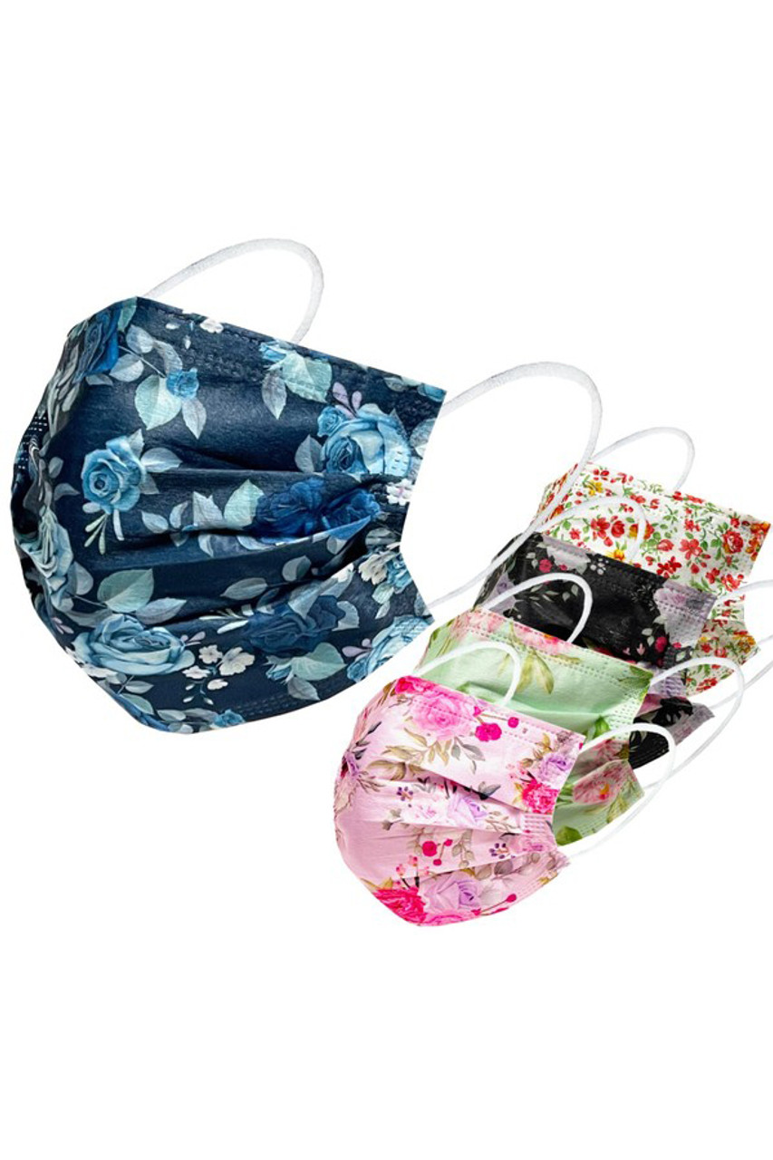 Multi Style Floral Disposable Surgical Face Mask - 50 Pack - 2 Styles