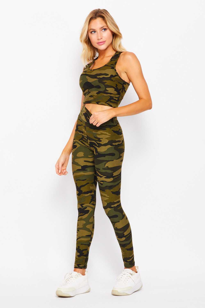 Buttery Soft High Waisted 3 Inch Camouflage Leggings and Crop Bra Set