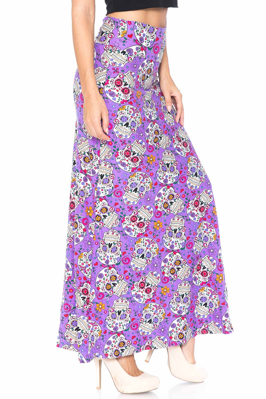 Right side of Buttery Soft Purple Sugar Skull Maxi Skirt with a fabulous colorful Day of the Dead themed design on a purple background.