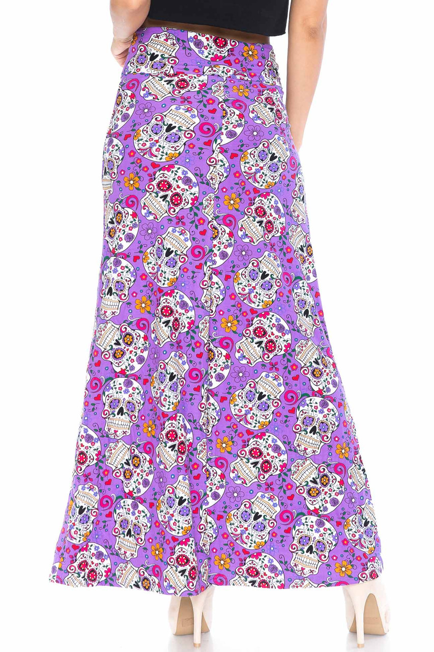 Back side image of Buttery Soft Purple Sugar Skull Maxi Skirt with a below ankle length hem depending on height.
