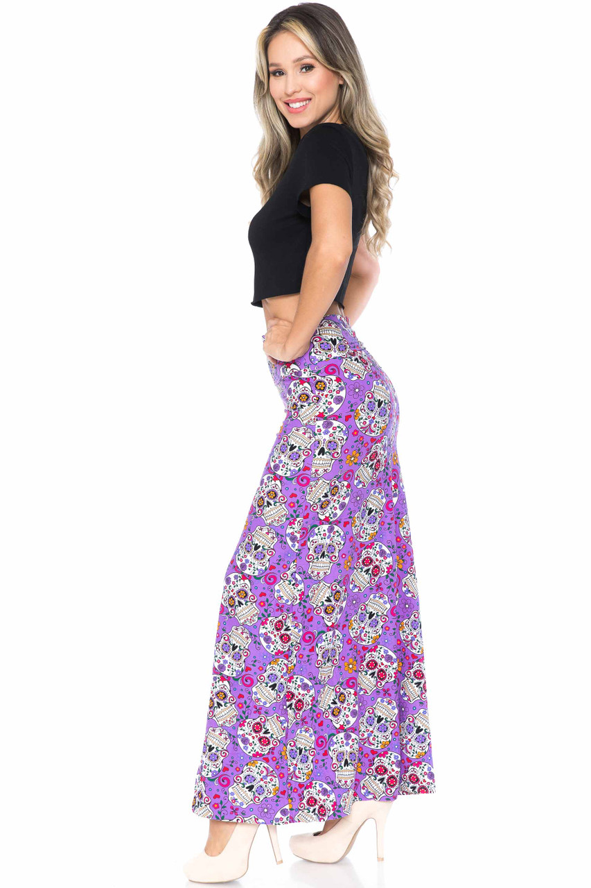 Left side of Buttery Soft Purple Sugar Skull Maxi Skirt that is easily styled with a top of any style.