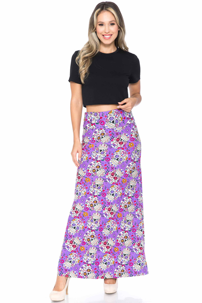 Front of Buttery Soft Purple Sugar Skull Maxi Skirt with a wonderful design for Halloween or even summer.