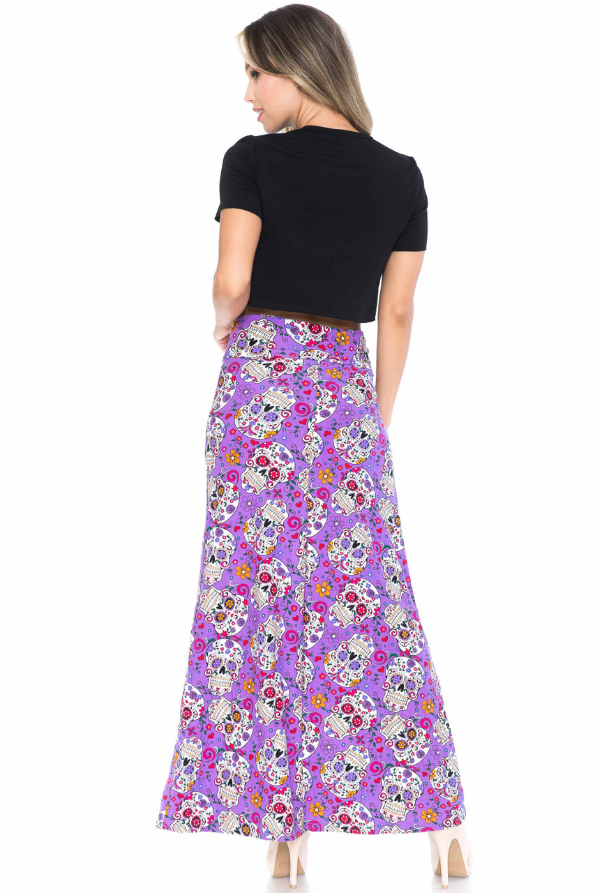 Back side image of Buttery Soft Purple Sugar Skull Maxi Skirt