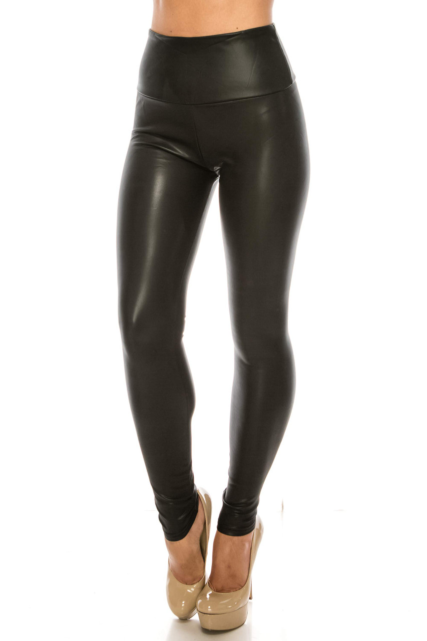 Front side image of Premium Faux Leather Plus Size Leggings shown paired with nude heels