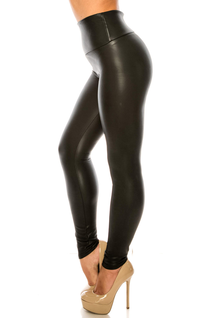 Left side image of Premium Faux Leather Plus Size Leggings with a figure flattering high waist design