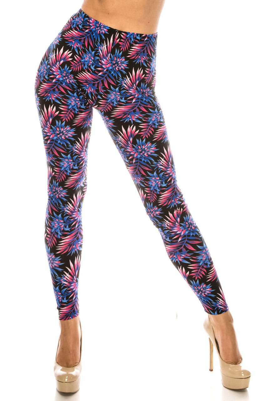 Front side image of Buttery Soft Blue Botanical Garden Leggings featuring a gorgeous colorful leaf design.