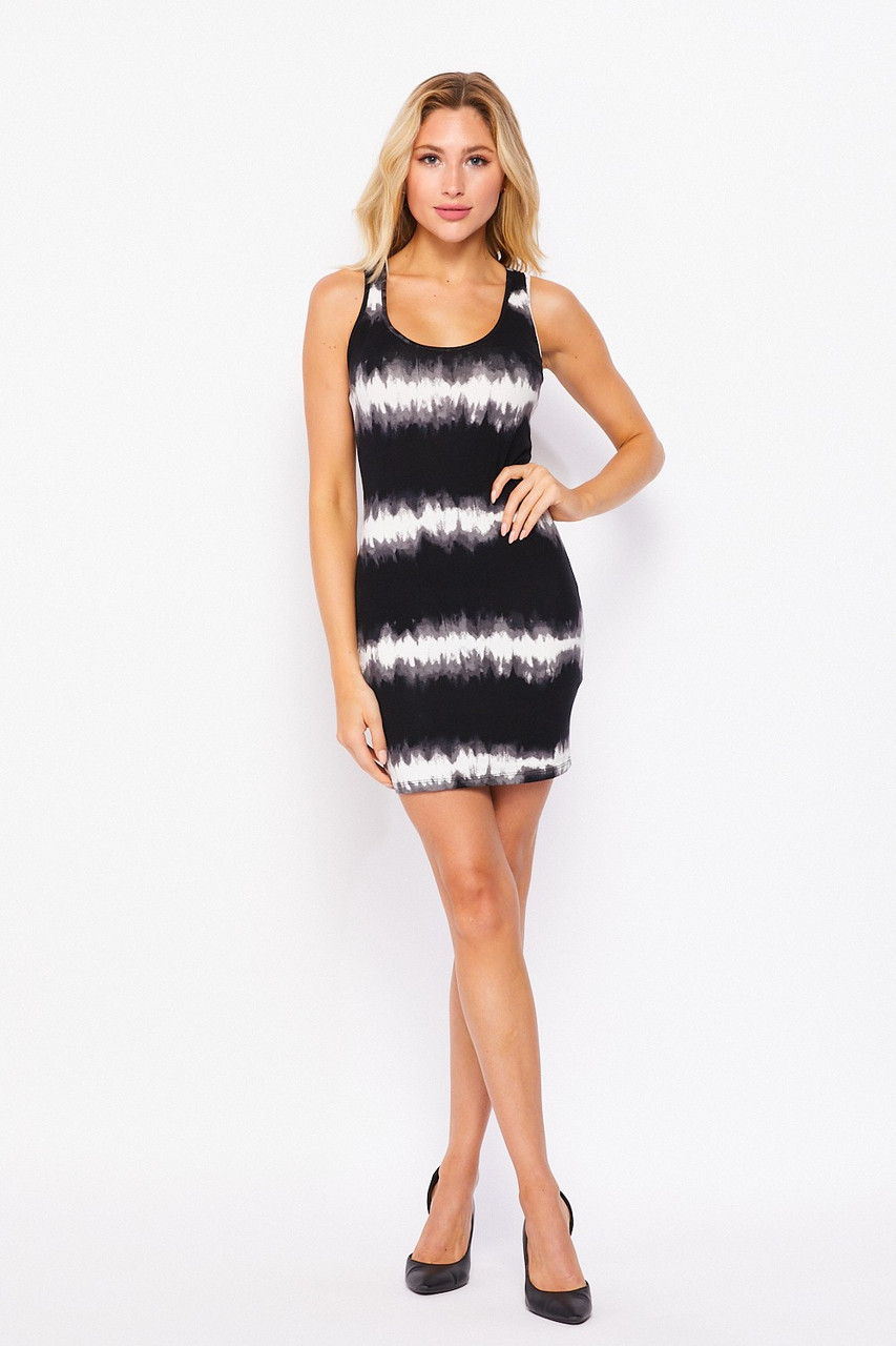 Full front image of Cotton Tie Dye Striped Sleeveless Bodycon Mini Dress shown teamed with black heels