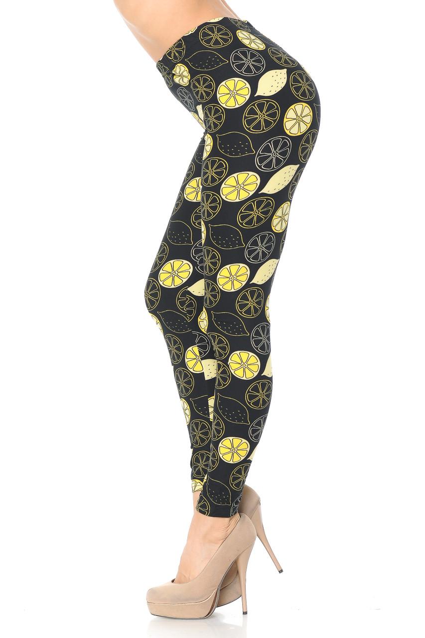 Left side image of Buttery Soft Juicy Summer Lemons Leggings