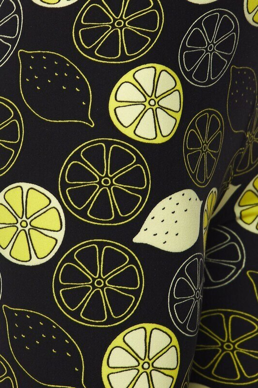 Close-up fabric image of Buttery Soft Juicy Summer Lemons Plus Size Leggings