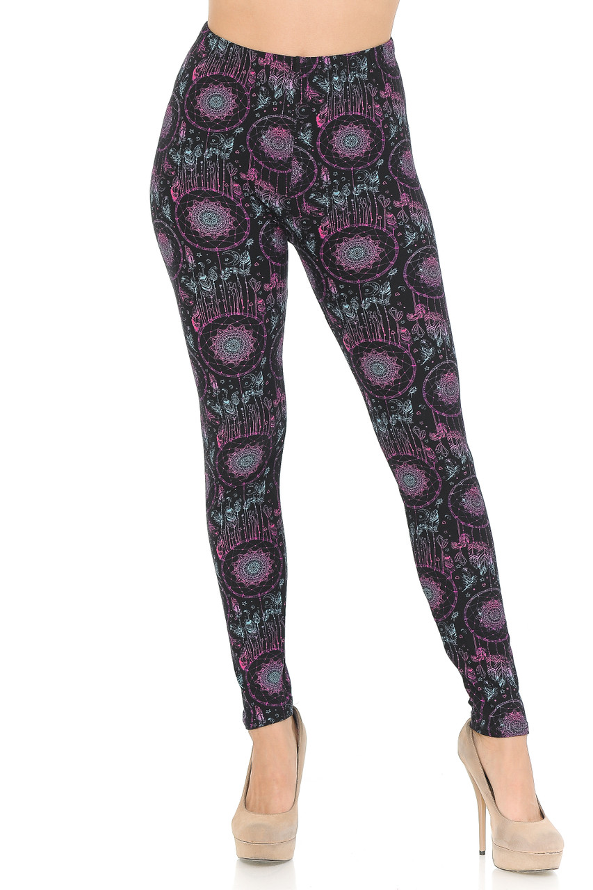 Front side image of Vibrant Dreamcatcher Double Brushed Leggings with a mid rise elastic waist