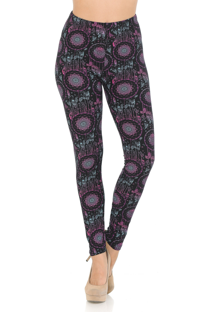 Front side image of Vibrant Dreamcatcher Double Brushed Leggings with an all over eye-catching design.