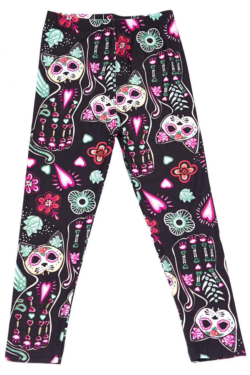 Flat front view of Creamy Soft Sugar Skull Kitty Cats Kids Leggings - USA Fashion™ with a colorful skeleton cat and floral accent design.