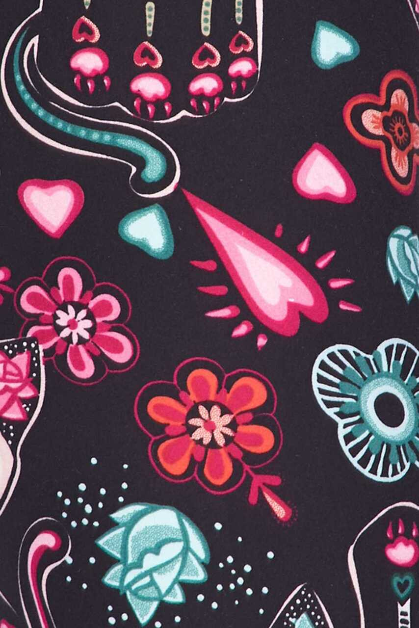 Close-up fabric image for Creamy Soft Sugar Skull Kitty Cats Kids Leggings - USA Fashion™