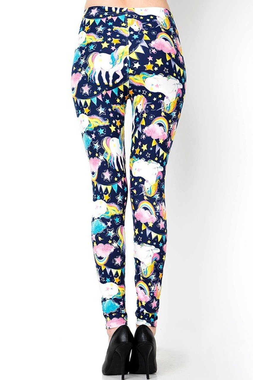 Back side image of Buttery Soft Rainbow Unicorn Celebration Plus Size Leggings with a figure flattering fit.