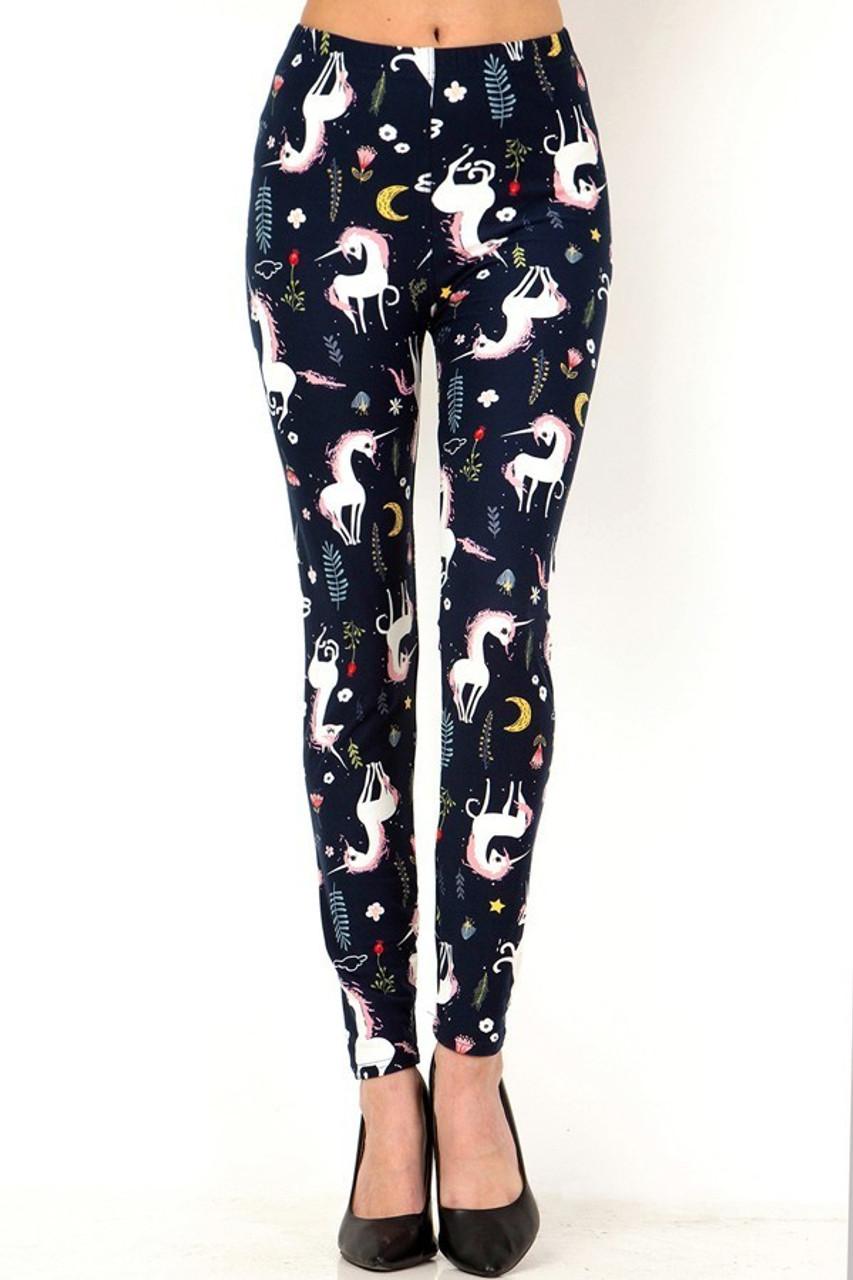 Front of full length Buttery Soft Moonlight Unicorn Plus Size Leggings