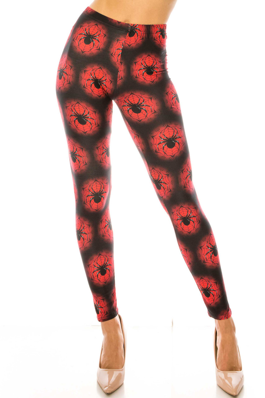 Front side of Creamy Soft Black Widow Spider Web Plus Size Leggings - USA Fashion™ with a mid rise elasticized waist.