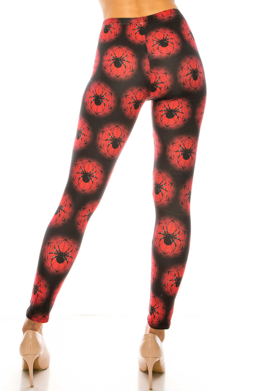 Back side image of Creamy Soft Black Widow Spider Web Plus Size Leggings - USA Fashion™ with a sleek body-hugging fit