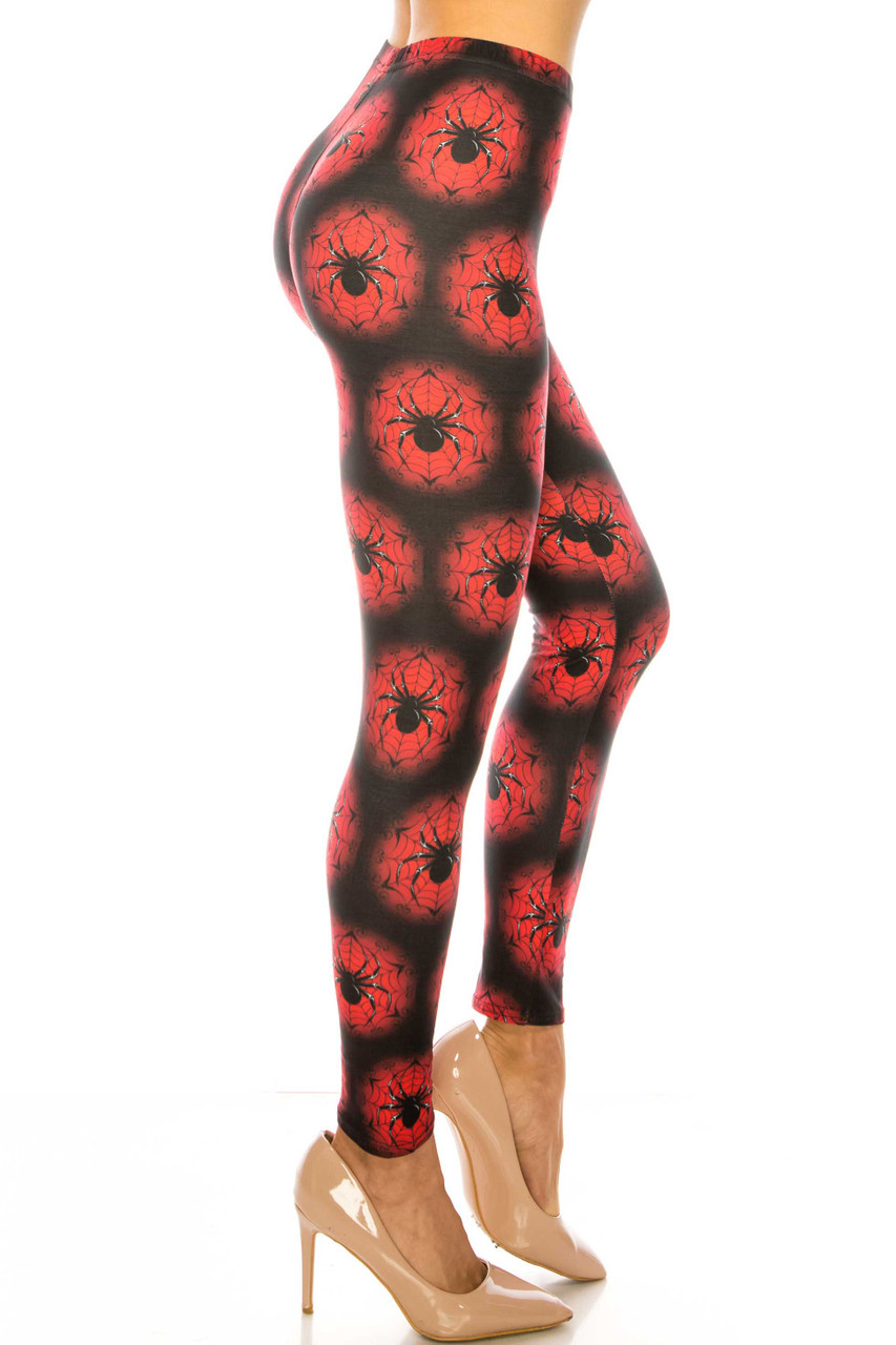 Right side of Creamy Soft Creamy Soft Black Widow Spider Web Plus Size Leggings - USA Fashion™