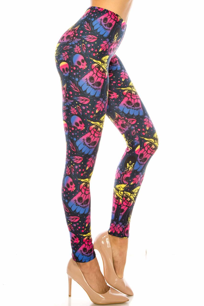 Right side image of Creamy Soft Autumn Ombre Skulls Plus Size Leggings - USA Fashion™