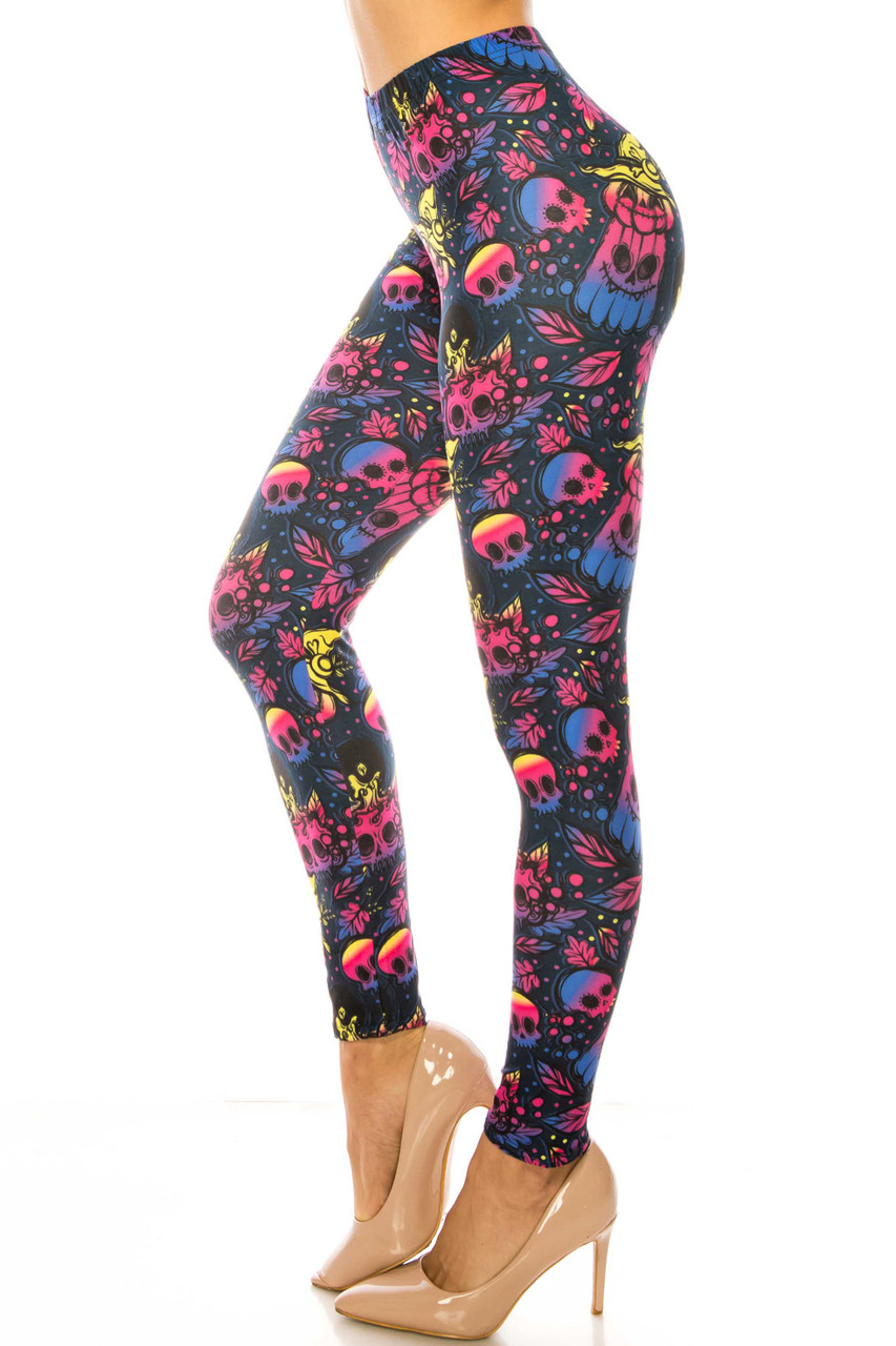 Left side image of Creamy Soft Autumn Ombre Skulls Plus Size Leggings - USA Fashion™