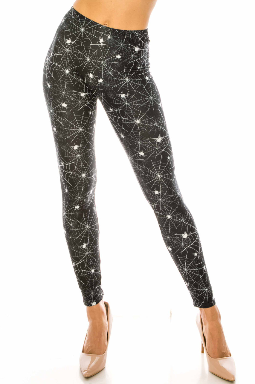 Front side image of sleek and spooky Creamy Soft Spiders and Spiderwebs Kids Leggings - USA Fashion™