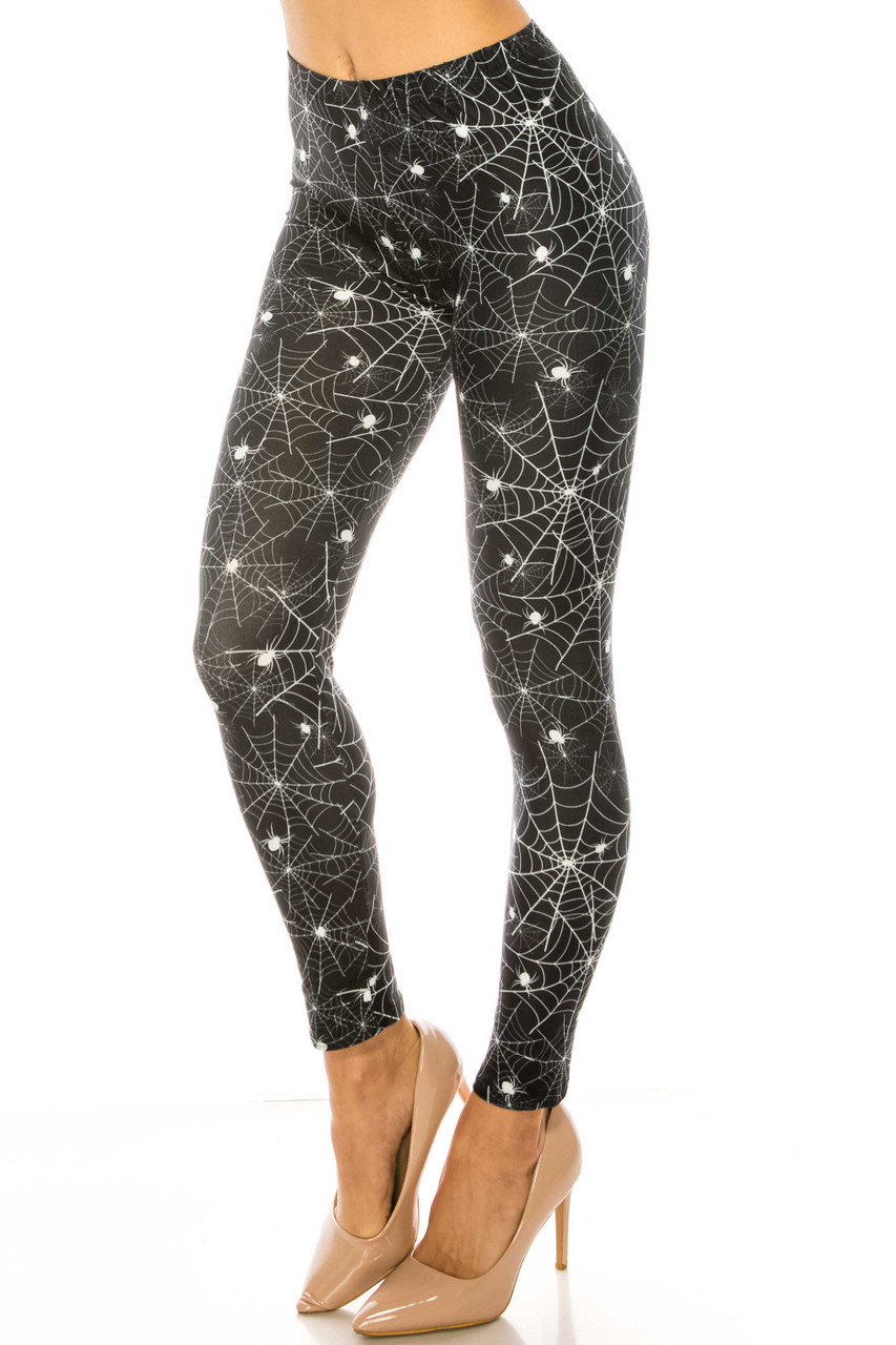 45 degree view of Creamy Soft Spiders and Spiderwebs Leggings - USA Fashion™ with a creepy and fun design perfect for Halloween or edgy outfits all year.