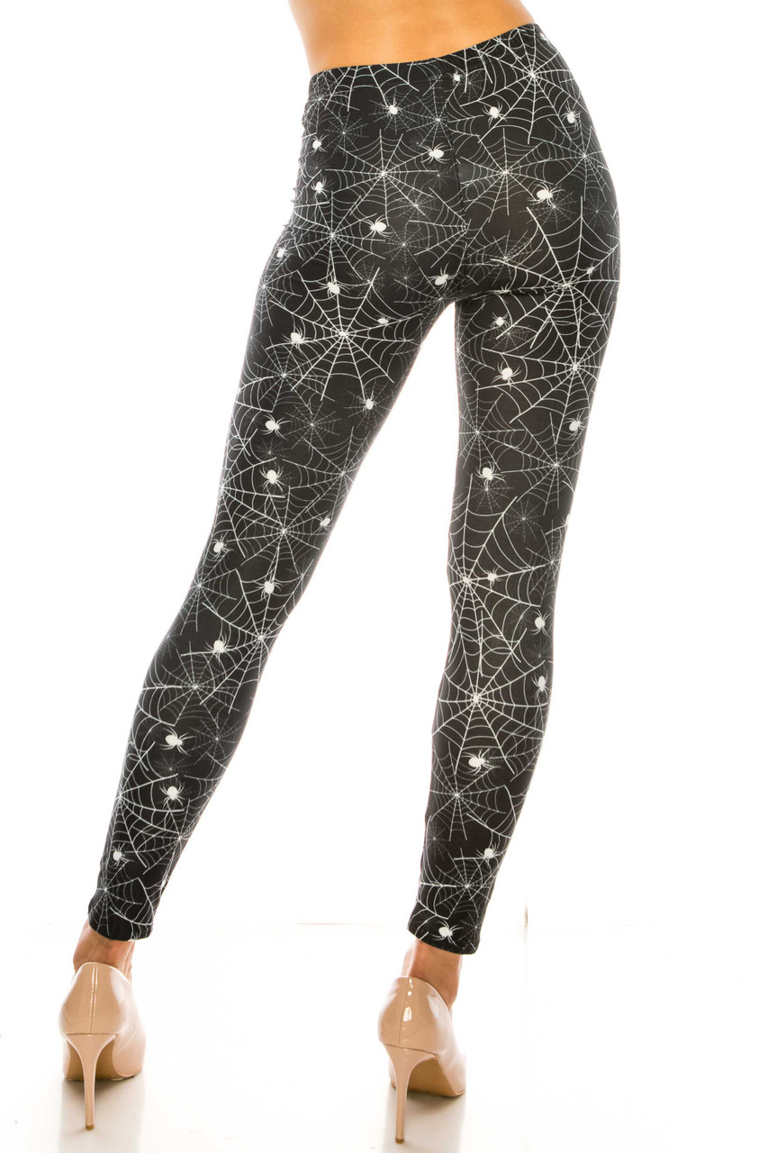 Back side image of Creamy Soft Spiders and Spiderwebs Leggings - USA Fashion™