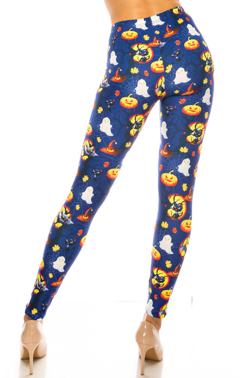 Back side image of Creamy Soft Halloween Critters Plus Size Leggings - USA Fashion™ with a fun design and flattering fit.