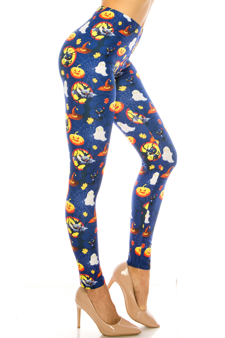 Right side image of Creamy Soft Halloween Critters Plus Size Leggings - USA Fashion™